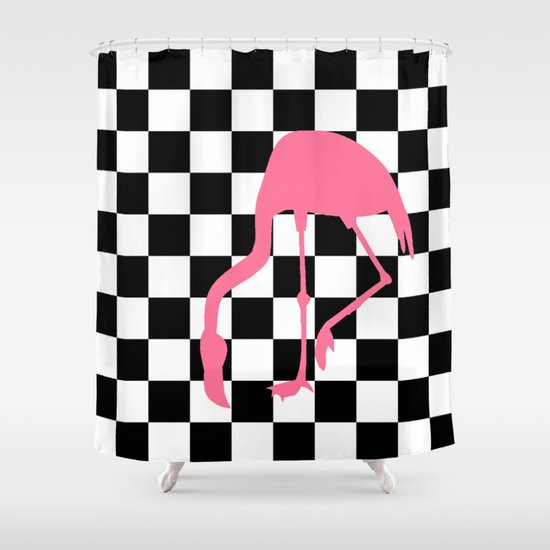 Checkered Flag American Classic Pink Lawn Flamingo Shower Curtain by ...