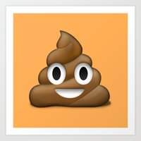 Smiling Poo Emoji (Colored Background) Art Print