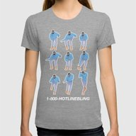 Hotline Bling (blue) Womens Fitted Tee Tri-Grey LARGE