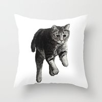 Jumping Cat Throw Pillow
