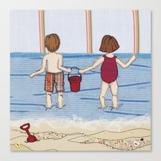 Embroidered Beach Illustration Canvas Print