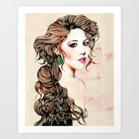 Woman With Long Hair  Art Print