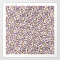 Blush Daisies and Berries Tiled Pattern Art Print