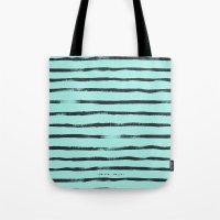 Thin Brush Stripe Turq Tote Bag