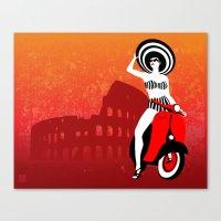 Vespa Woman Canvas Print