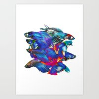 FIGHTING FISHES BETTA - Animals | Psychedelic | 70's | Abstract | Pop | Surrealism | Nature Art Print