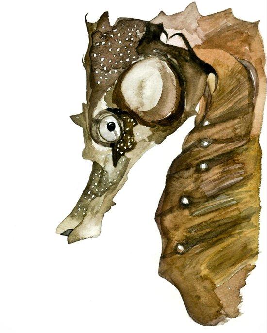Ocean Treasures No.1 Seahorse Watercolor Art Print