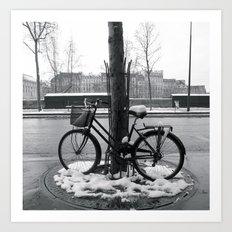 Snowy bike in Paris Art Print