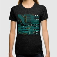 Dark Circuit Board Womens Fitted Tee Tri-Black SMALL
