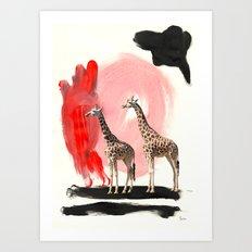 Paint the Blues Away Giraffes Art Print