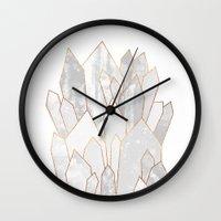 White Crystals Wall Clock