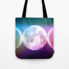 Moon Phases Triple Goddess Rainbow Tote Bag