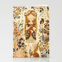 flowers Stationery Cards featuring The Queen of Pentacles by Teagan White