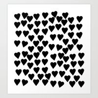 Hearts Black and White Art Print