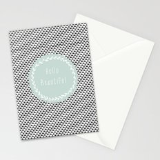 Hello Beautiful, Geometric, Quote, Modern, Home Decor Stationery Cards