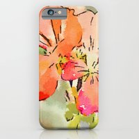 Orange Pélargonium Flowers with Painterly Water Color FX iPhone 6 Slim Case