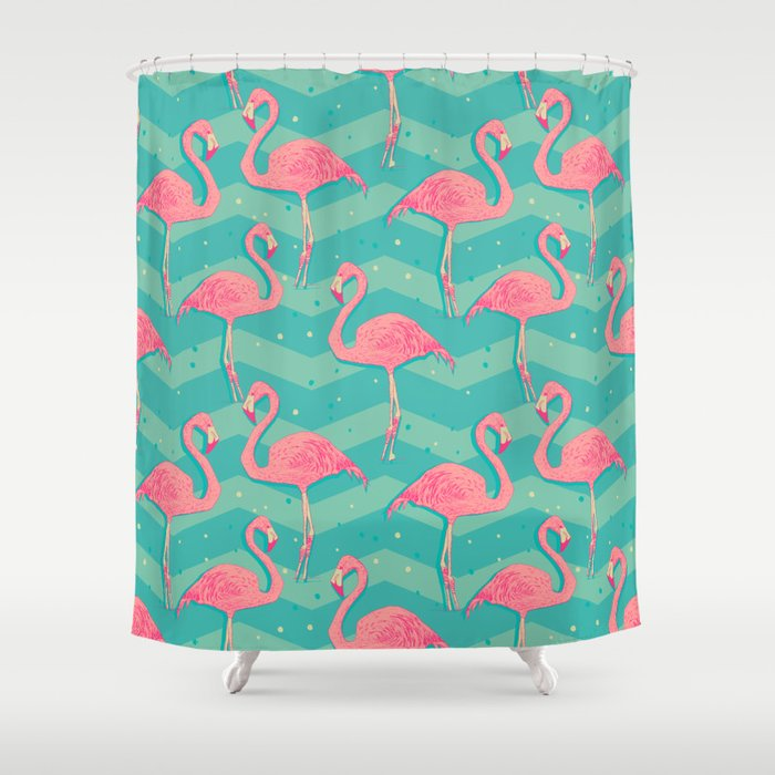 Flamingo Shower Curtain By Julia