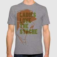 Ladies Love the Mustache Mens Fitted Tee Athletic Grey SMALL