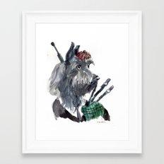 Bagpiping Scottie Framed Art Print
