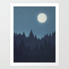 Tree Line - Blue Art Print