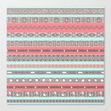 Peach Rose Baby Blue Aztec Tribal Native Pattern Canvas Print