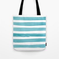 Watercolor Juicy Strokes: Teal Tote Bag