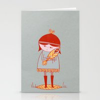 Girl Holding A Bird Stationery Cards