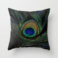 peacock eye Throw Pillow