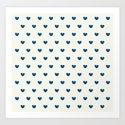 Cute Blue Hearts Pattern Art Print
