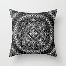 White Flower Mandala on Black Throw Pillow
