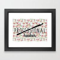 funny crochet vintage floral professional hooker Framed Art Print