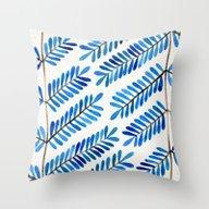 Blue Leaflets Throw Pillow