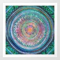 Pink And Turquoise Manda… Art Print