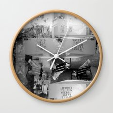 Summer space, smelting selves, simmer shimmers. [extra, 9, grayscale version] Wall Clock