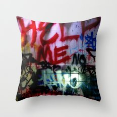 help me graffitti Throw Pillow