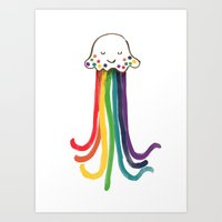 jellyfish Art Prints featuring Rainbow Jellyfish by Picomodi