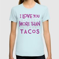 Taco Valentine Womens Fitted Tee Light Blue SMALL
