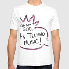 It's Techno Music! White Mens Fitted Tee SMALL