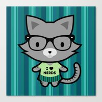 I Heart Nerds Kitty Canvas Print
