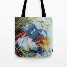 Tardis doctor who jump into time Vortex Tote Bag