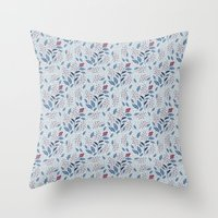 Purple Thistle Buds Throw Pillow