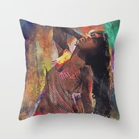 Fences Abstract Portrait Throw Pillow
