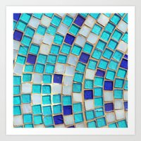 Blue Tiles - An Abstract… Art Print