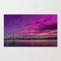 Sun Dusk Over Boston Canvas Print