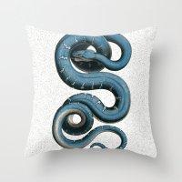 Blue White Vintage Snake Illustration Animal Art Throw Pillow