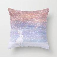 Snow Bunny Throw Pillow