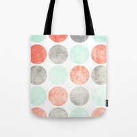 Circles (Mint, Coral & Gray) Tote Bag