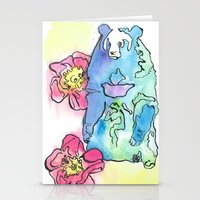 Spring Rose Bear Stationery Cards