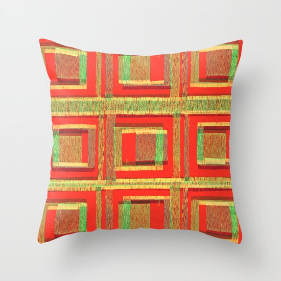 Orange squares - press print and digital pattern Throw Pillow
