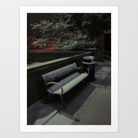 The Cold Bench Waits For… Art Print